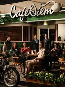 Members of the 'Eureka' cast in front of Cafe Diem (l-r): Zane, Allison, Henry, Jo, Jack, Fargo and Grant