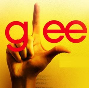 Glee logo, with the common 'l for loser' hand gesture making the L.