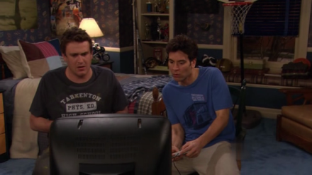 Ted (Josh Radnor) and Marshall (Jason Segel) play videogames in Marshall's childhood bedroom.