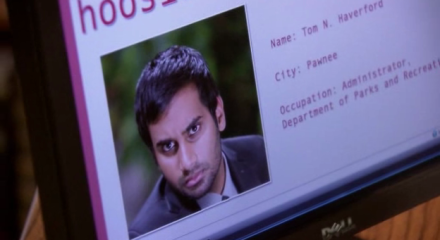 The HoosierMate profile of Tom N. Haverford, complete with dashing profile photo.