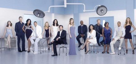 Promotional photo of the cast (l-r): Sarah Drew (April Kepner), Eric Dane (Mark Sloane), Sara Ramirez (Callie Torres), Justin Chambers (Alex Karev), Jessica Capshaw (Arizona Robbins), Chyler Leigh (Lexie Grey), Patrick Dempsey (Derek Shepherd), Meredith Grey (Ellen Pompeo), James Pickens, Jr. ( Richard Webber), Sandra Oh (Cristina Yang), Kevin McKidd (Owen Hunt), Chandra Wilson (Miranda Bailey), Jesse Williams (Jackson Avery) and Kim Raver (Teddy Altman)
