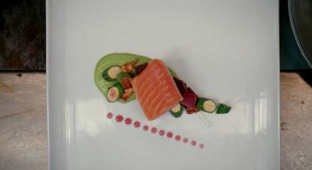 A fancy salmon dish in a restaurant.