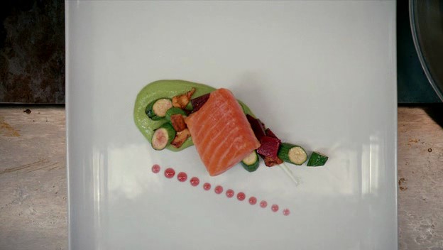 A fancy salmon dish in a restaurant.