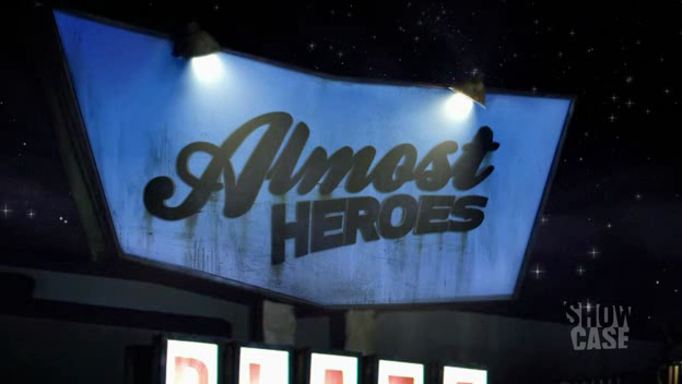 The 'Almost Heroes' logo: 'Almost Heroes' displayed on the plaza sign.