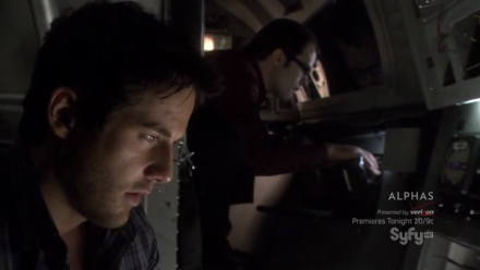 Zane (Niall Matter) and Fargo (Neil Grayston) in the spaceship.