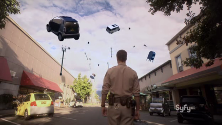 Jack Carter (Colin Ferguson) watches things float into the air, recreating the show's title sequence.