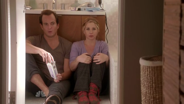 Chris (Will Arnett) and Regan (Christina Applegate) sit in their bathroom, reeling from the results of the pregnancy test.